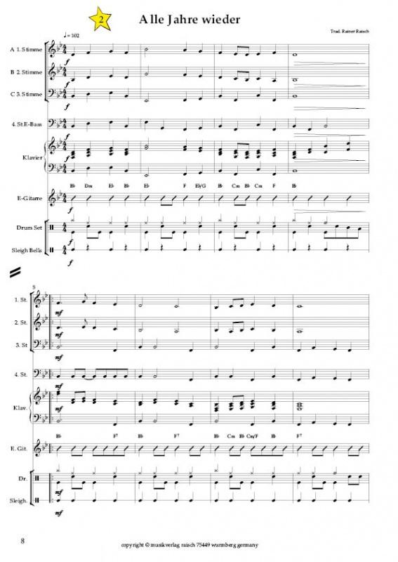 Weihnachtslieder Blasorchester.Blasorchester Die 21 Schönsten Weihnachtslieder Musikverlag Raisch