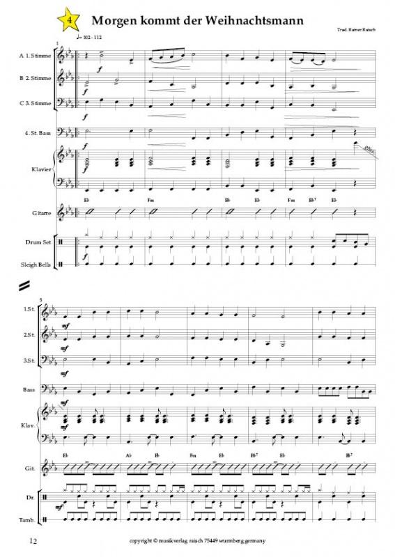 Weihnachtslieder Mit Noten Kostenlos Ausdrucken.Blasorchester Die 21 Schönsten Weihnachtslieder Musikverlag Raisch